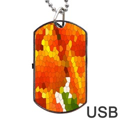 Mosaic Glass Colorful Color Dog Tag USB Flash (One Side)