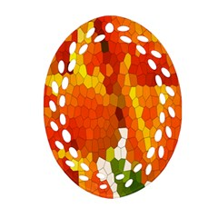 Mosaic Glass Colorful Color Oval Filigree Ornament (Two Sides)