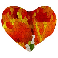 Mosaic Glass Colorful Color Large 19  Premium Heart Shape Cushions