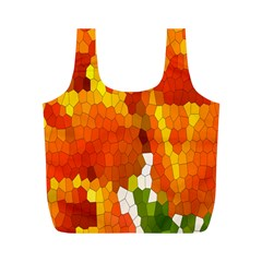 Mosaic Glass Colorful Color Full Print Recycle Bags (m)