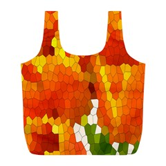 Mosaic Glass Colorful Color Full Print Recycle Bags (l)