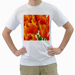 Mosaic Glass Colorful Color Men s T-Shirt (White)