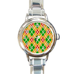 Colorful Color Pattern Diamonds Round Italian Charm Watch