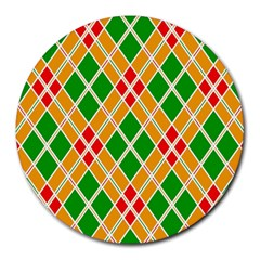 Colorful Color Pattern Diamonds Round Mousepads