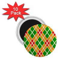 Colorful Color Pattern Diamonds 1.75  Magnets (10 pack)
