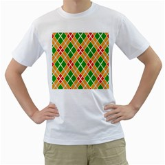 Colorful Color Pattern Diamonds Men s T Shirt (white) (two Sided)