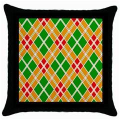 Colorful Color Pattern Diamonds Throw Pillow Case (Black)