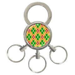 Colorful Color Pattern Diamonds 3-Ring Key Chains