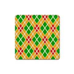 Colorful Color Pattern Diamonds Square Magnet