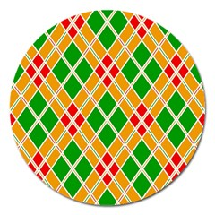 Colorful Color Pattern Diamonds Magnet 5  (round)
