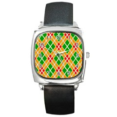 Colorful Color Pattern Diamonds Square Metal Watch