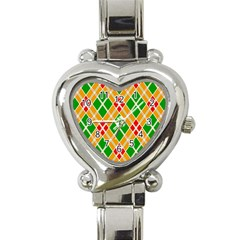 Colorful Color Pattern Diamonds Heart Italian Charm Watch