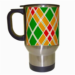 Colorful Color Pattern Diamonds Travel Mugs (White)