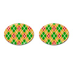 Colorful Color Pattern Diamonds Cufflinks (Oval)