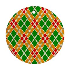Colorful Color Pattern Diamonds Round Ornament (Two Sides)