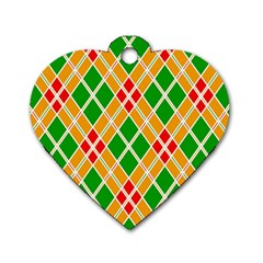 Colorful Color Pattern Diamonds Dog Tag Heart (two Sides)