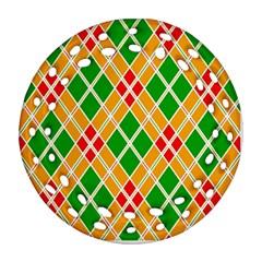 Colorful Color Pattern Diamonds Ornament (Round Filigree)