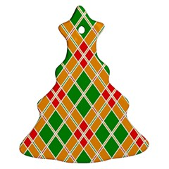 Colorful Color Pattern Diamonds Christmas Tree Ornament (two Sides)