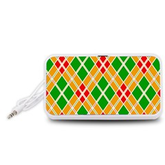 Colorful Color Pattern Diamonds Portable Speaker (White)