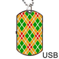 Colorful Color Pattern Diamonds Dog Tag USB Flash (One Side)