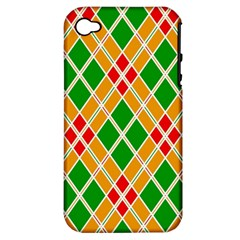 Colorful Color Pattern Diamonds Apple Iphone 4/4s Hardshell Case (pc+silicone)