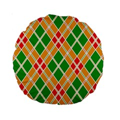Colorful Color Pattern Diamonds Standard 15  Premium Round Cushions