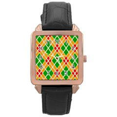 Colorful Color Pattern Diamonds Rose Gold Leather Watch