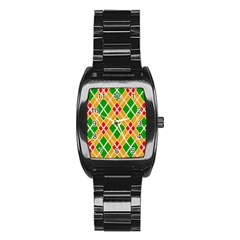 Colorful Color Pattern Diamonds Stainless Steel Barrel Watch
