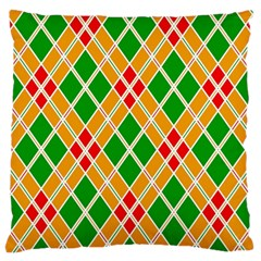Colorful Color Pattern Diamonds Large Flano Cushion Case (two Sides)
