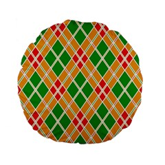 Colorful Color Pattern Diamonds Standard 15  Premium Flano Round Cushions