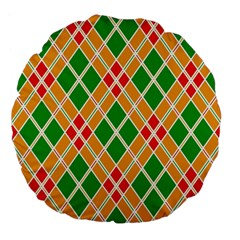 Colorful Color Pattern Diamonds Large 18  Premium Flano Round Cushions