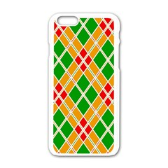 Colorful Color Pattern Diamonds Apple Iphone 6/6s White Enamel Case