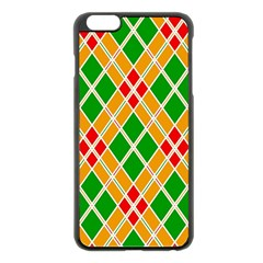 Colorful Color Pattern Diamonds Apple iPhone 6 Plus/6S Plus Black Enamel Case