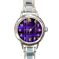 Background Texture Pattern Color Round Italian Charm Watch