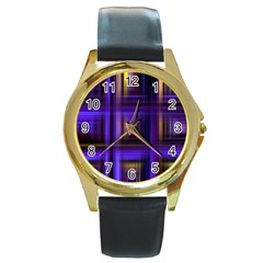 Background Texture Pattern Color Round Gold Metal Watch
