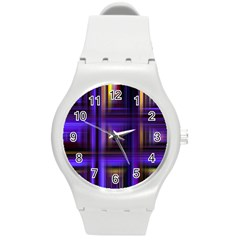 Background Texture Pattern Color Round Plastic Sport Watch (M)