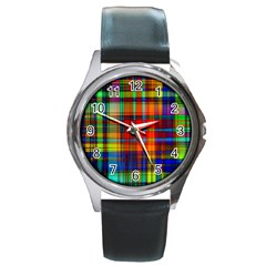 Abstract Color Background Form Round Metal Watch