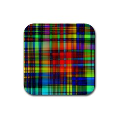 Abstract Color Background Form Rubber Square Coaster (4 pack)