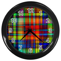 Abstract Color Background Form Wall Clocks (Black)