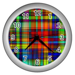 Abstract Color Background Form Wall Clocks (Silver)