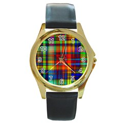 Abstract Color Background Form Round Gold Metal Watch