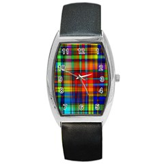 Abstract Color Background Form Barrel Style Metal Watch