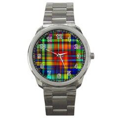 Abstract Color Background Form Sport Metal Watch