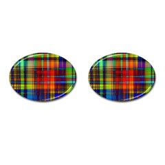 Abstract Color Background Form Cufflinks (oval)