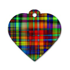 Abstract Color Background Form Dog Tag Heart (One Side)