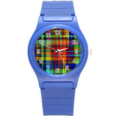 Abstract Color Background Form Round Plastic Sport Watch (S)