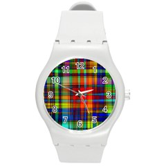 Abstract Color Background Form Round Plastic Sport Watch (M)