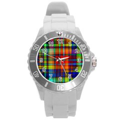 Abstract Color Background Form Round Plastic Sport Watch (L)