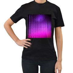 Pattern Light Color Structure Women s T-Shirt (Black) (Two Sided)