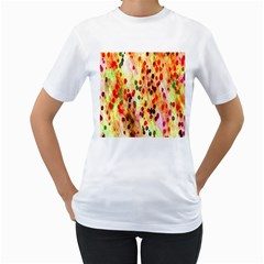 Background Color Pattern Abstract Women s T-Shirt (White) (Two Sided)